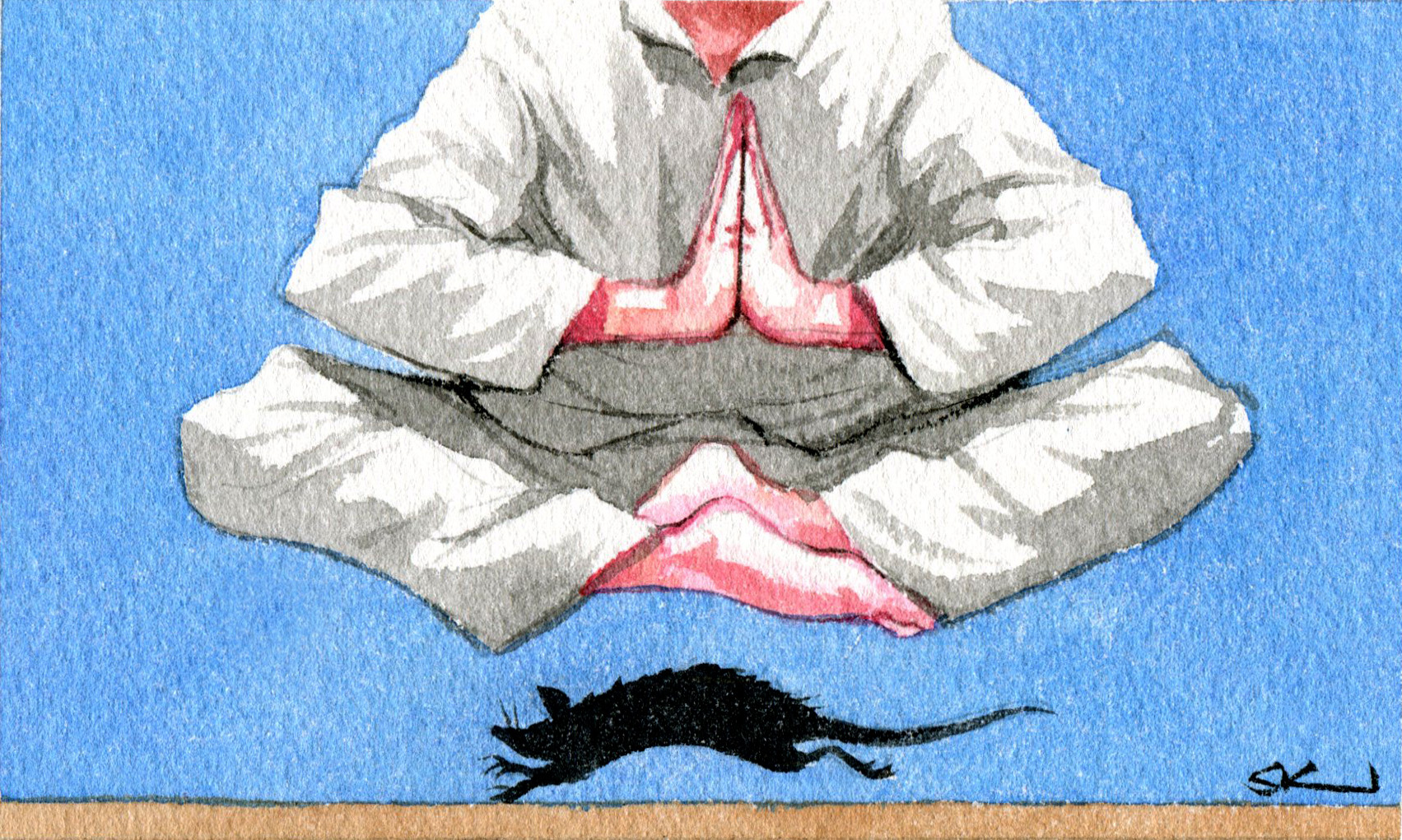 Person in lotus position levitating with a rat running under them. Artwork by Sturt Krygsman